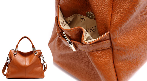 A5039 Classy Pebbled Embossed Genuine Leather Shopping Cross-body Tote Purse - FFANY GIFTS - 13