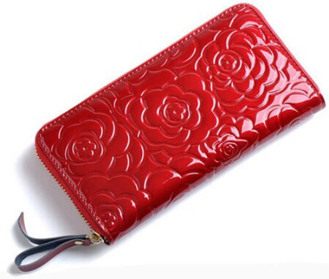 A4034 Classy Chic Rose Embossed Genuine Patent Leather Zip Around Wallet SALE