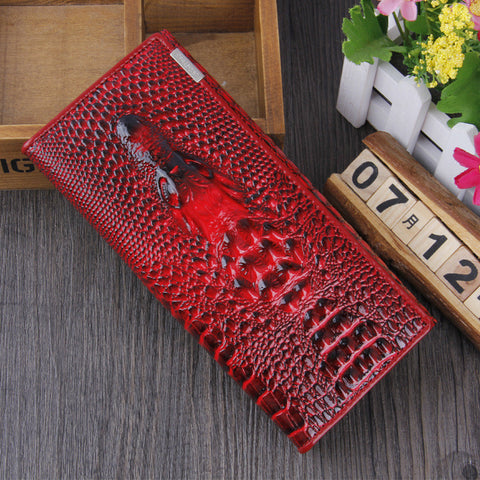 A4028 Chic Long Alligator Embossed Genuine Leather Bi-fold Clutch Wallet SALE