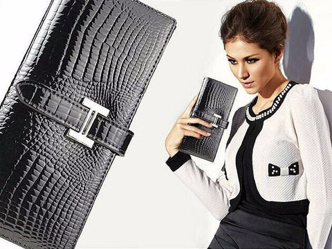 A4015 Long Chic Python Embossed Genuine Patent Leather Bi-fold Wallet SALE