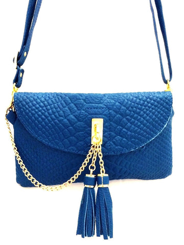 D16066 FFANY Exclusive Chic Tassels Python Embossed Genuine Leather Cross-body Clutch Shopping Purse - FFANY GIFTS - 1