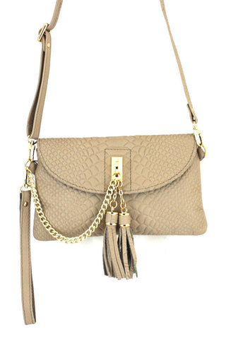 D16066 FFANY Exclusive Chic Tassels Python Embossed Genuine Leather Cross-body Clutch Shopping Purse - FFANY GIFTS - 7