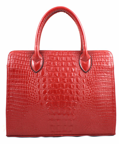 A1003 Classy Alligator Embossed Genuine Leather Tote Satchel Cross-body Shopping Purse