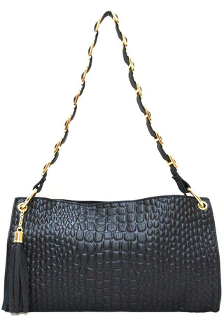 D16074 FFANY Exclusive Alligator Embossed Genuine Leather Cross-body Shoulder Clutch Purse SALE Free Shipping