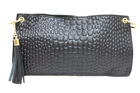 D16074 FFANY Signature Classy Alligator Embossed Genuine Leather Cross-body Shoulder Clutch Purse - FFANY GIFTS - 10
