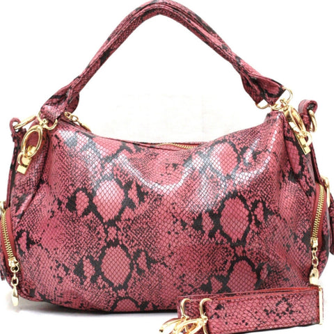 D15822  FFANY Exclusive Python / Pebble Embossed Genuine Leather Cross-body Shoulder Purse Clearance Free Shipping