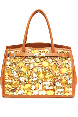 8682041 FFANY Exclusive Chic Rhinestone Pebbled Embossed Genuine Leather Shopping Tote Purse