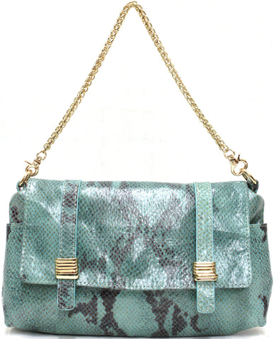 D16025 FFANY Exclusive Python / Pebble Embossed Genuine Leather Shoulder Cross-body Handbag SALE Free Shipping