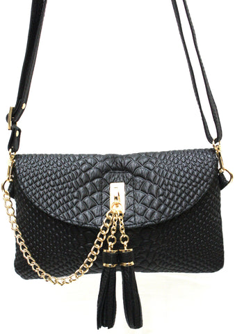 D16066 FFANY Exclusive Chic Tassels Python Embossed Genuine Leather Cross-body Clutch Shopping Purse - FFANY GIFTS - 4
