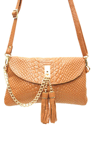 D16066 FFANY Exclusive Chic Tassels Python Embossed Genuine Leather Cross-body Clutch Shopping Purse - FFANY GIFTS - 6