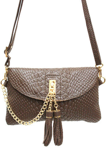 D16066 FFANY Exclusive Chic Tassels Python Embossed Genuine Leather Cross-body Clutch Shopping Purse - FFANY GIFTS - 5