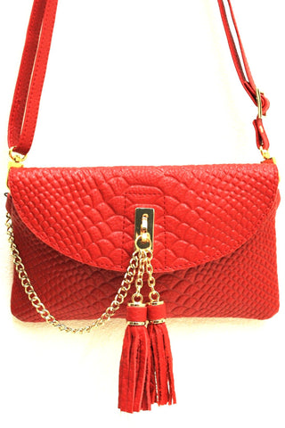 D16066 FFANY Exclusive Chic Tassels Python Embossed Genuine Leather Cross-body Shopping Clutch Purse SALE