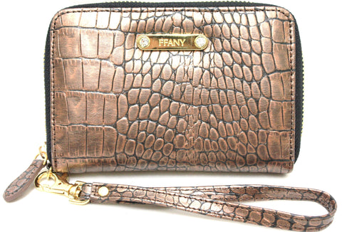 2390140 FFANY Exclusive Chic Short Alligator Embossed Genuine Leather Zip Around Wallet Clearance