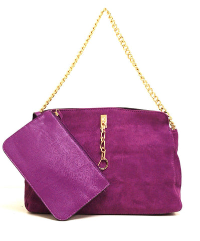 A1001 2-Pcs Fashion Faux Suede Leather Cross-body Shoulder Shopping Purse Clearance