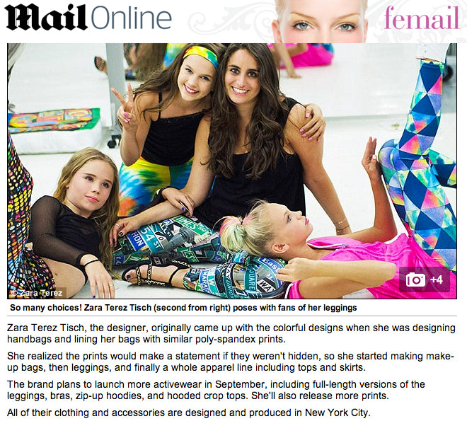 Zara Terez Performance Leggings featured on Daily Mail