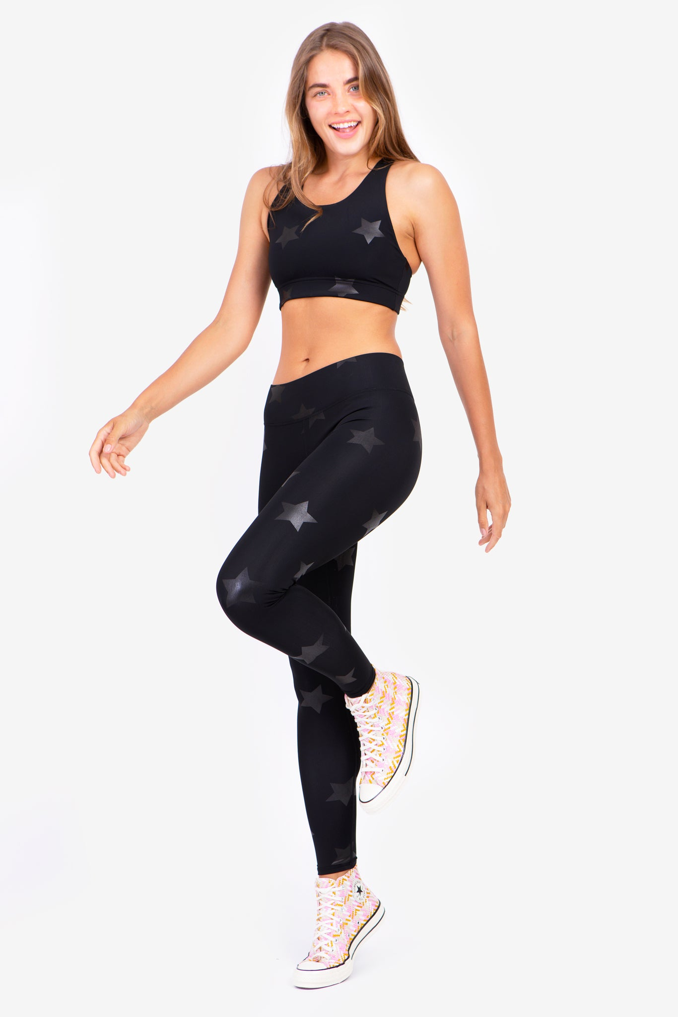 Black Star Foil Tall Band Leggings