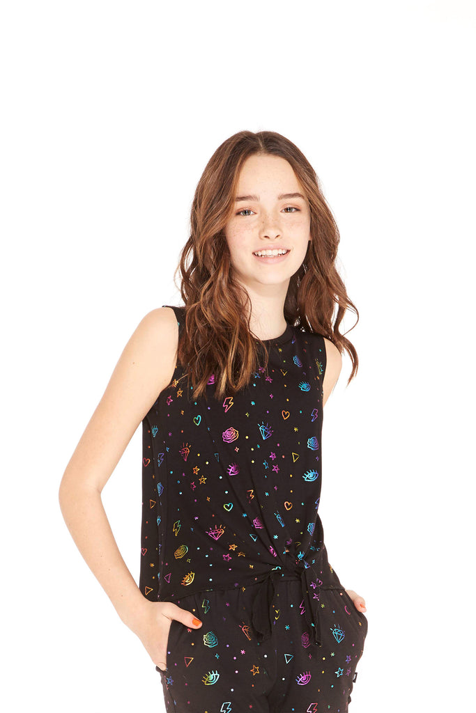 Girls Rainbow Dot Doodle Foil Tie Tank by Terez