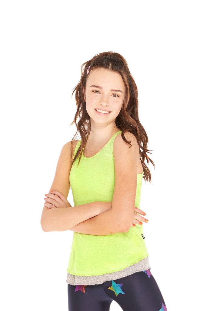 Girls Heathered Neon Green Tank
