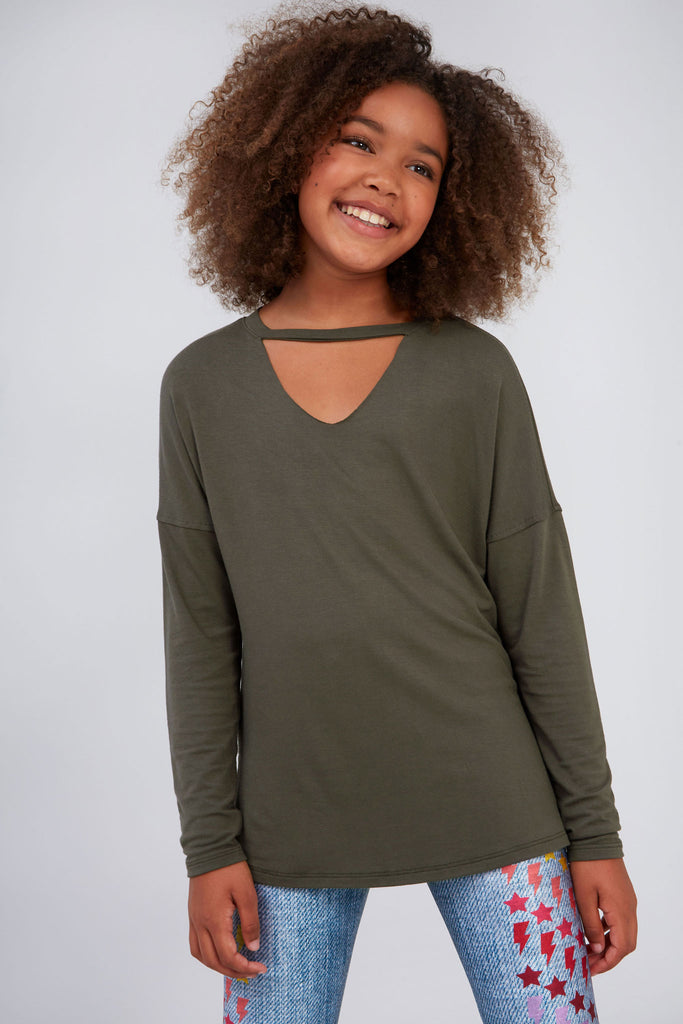 Girls Army Green V Long Sleeve