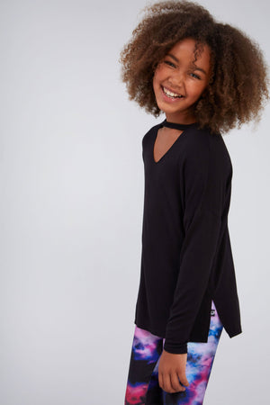 Girls Black V Long Sleeve