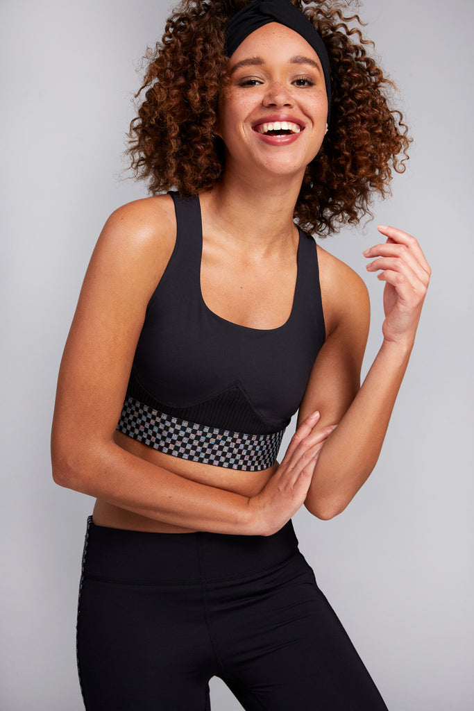 Glitter Checker Sports Bra