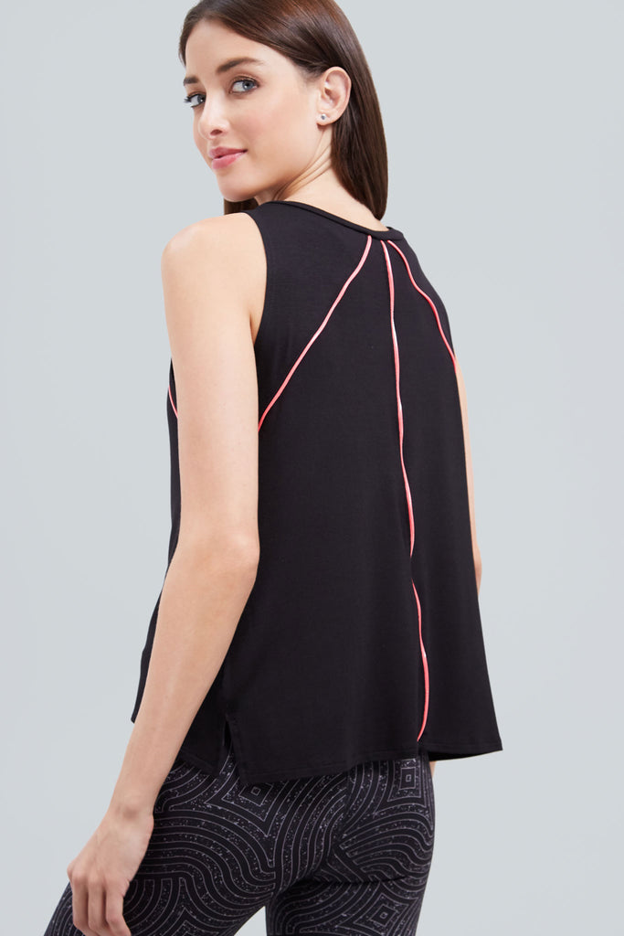 Black, muscle tank top with neon pink piping