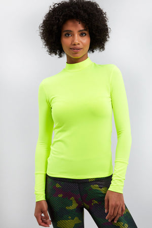 All-Use Mock Neck Top in Neon Green