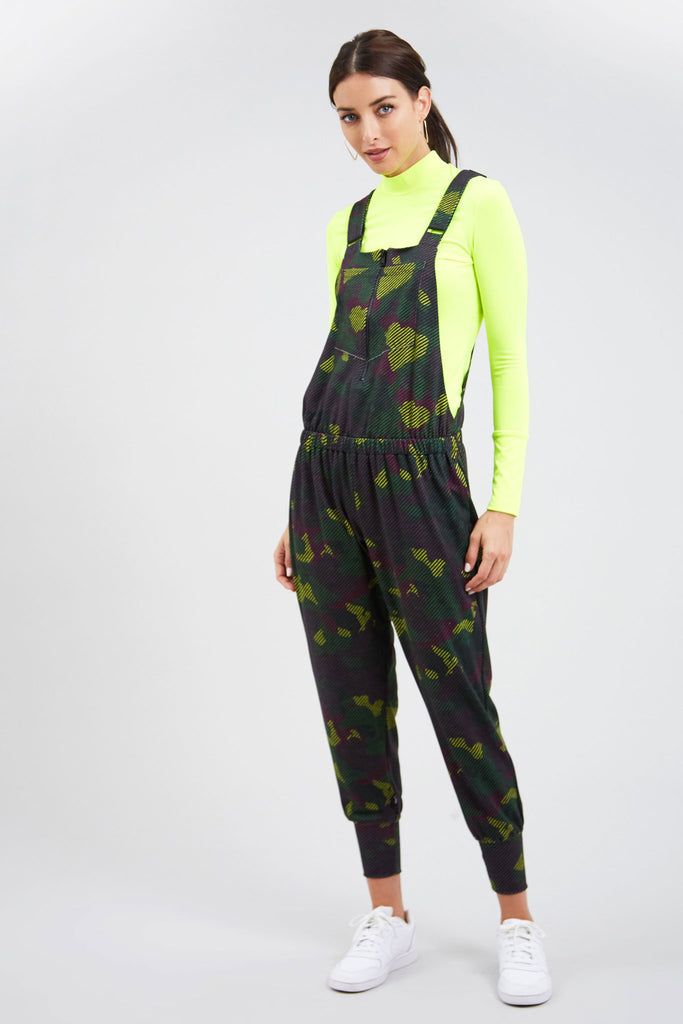 Striped Camo Zip Front Overalls