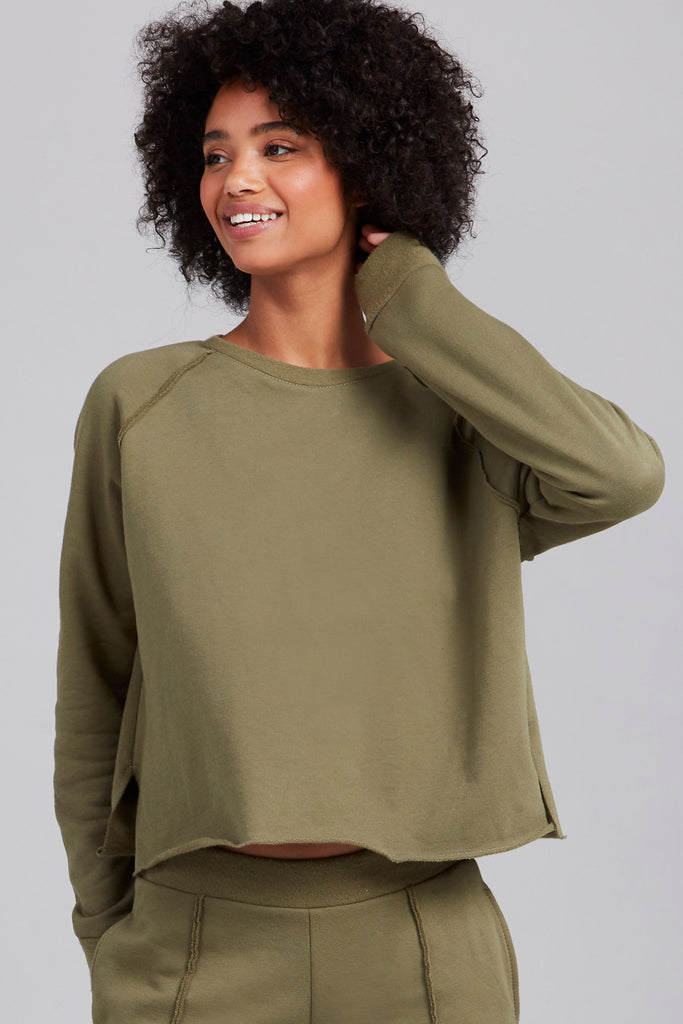 Olive Cotton Fleece Sweatshirt