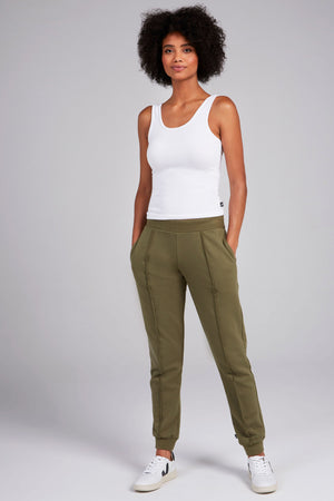 Olive Cotton Fleece Joggers by Terez