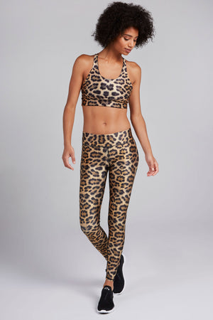 Full length, high rise legging with leopard fur print