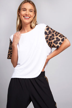 Leopard Goals Printed Sleeve Tee by Terez