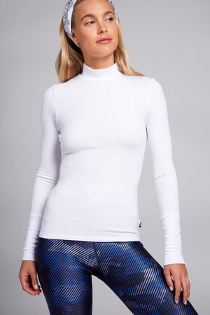 Super Rib Mock Neck in White