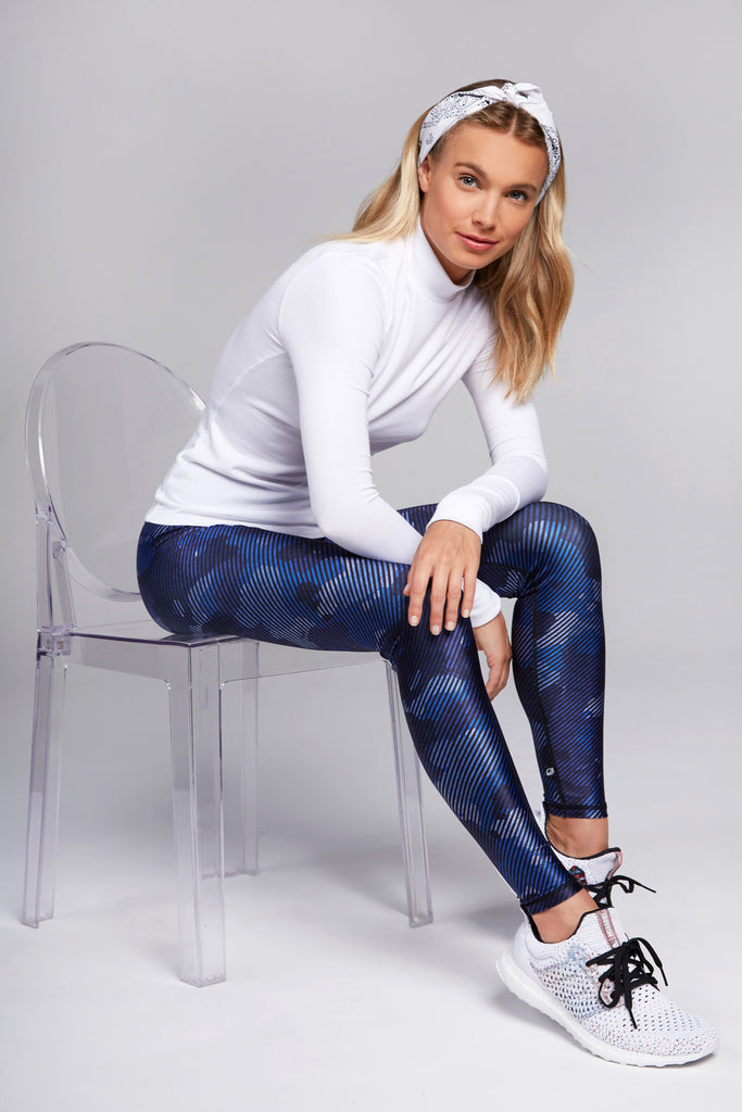 Full length, high rise navy legging with striped camo print