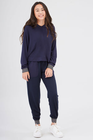 Girls Shimmer Trim Checkmate Jogger in Navy