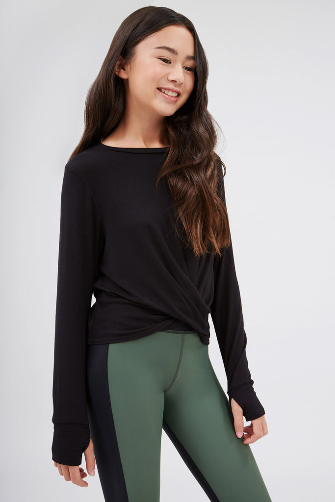 Girls Twist Front Long Sleeve in Black