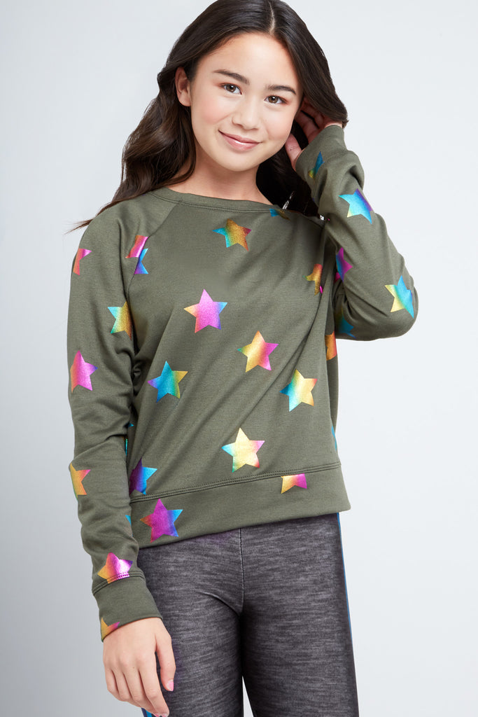 Girls Olive Rainbow Star Foil Crewneck