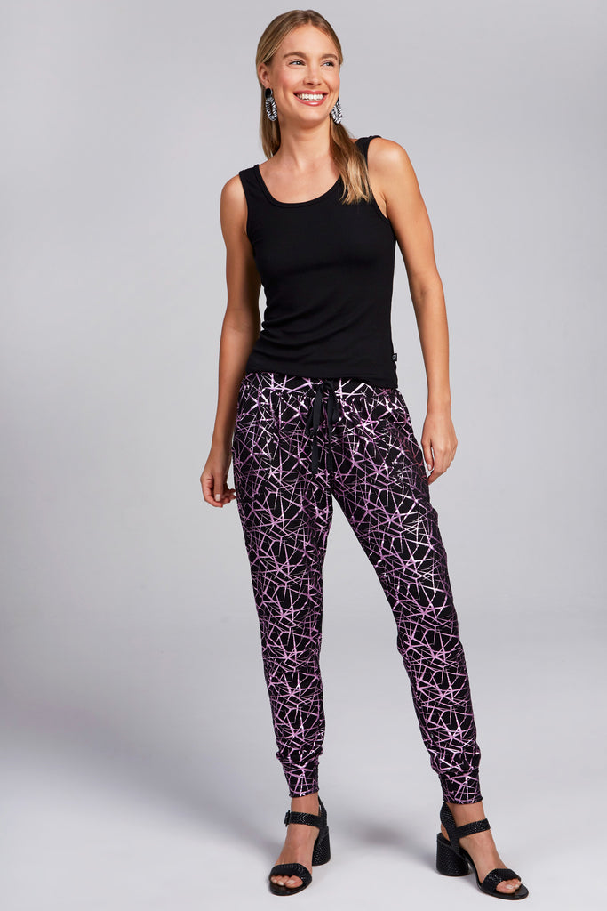 Lilac Shattered Foil Joggers