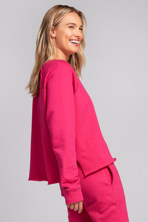 Magenta Cotton Fleece Pullover by Terez