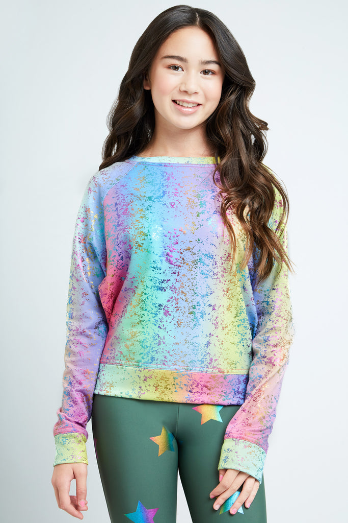 Girls Rainbow Balayage Foil Crewneck
