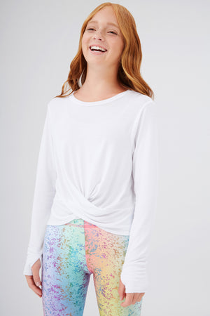 Girls Twist Front Long Sleeve in White