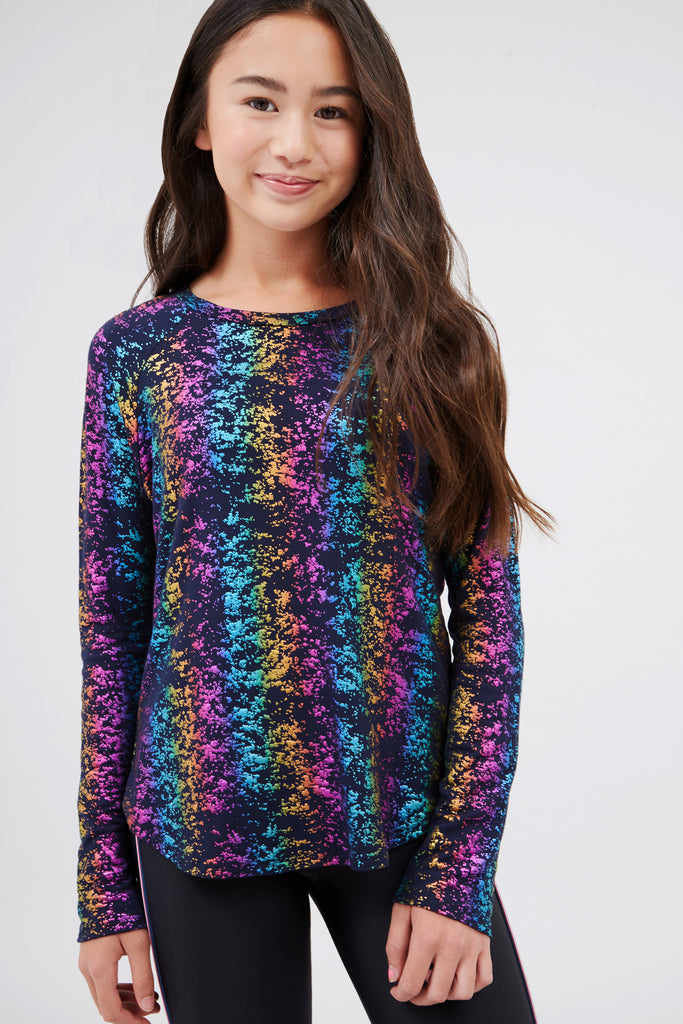 Girls Navy Rainbow Haze Foil Baseball Tee