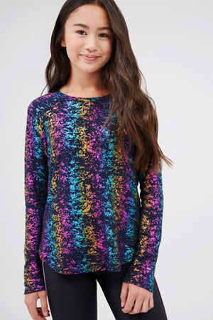 Girls Navy Rainbow Haze Balayage Foil Baseball Tee