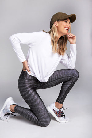 High waisted, full length legging with pattern of gray and black tiger stripes