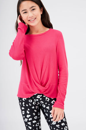 Girls Waffle Twist Front Long Sleeve in Hot Pink