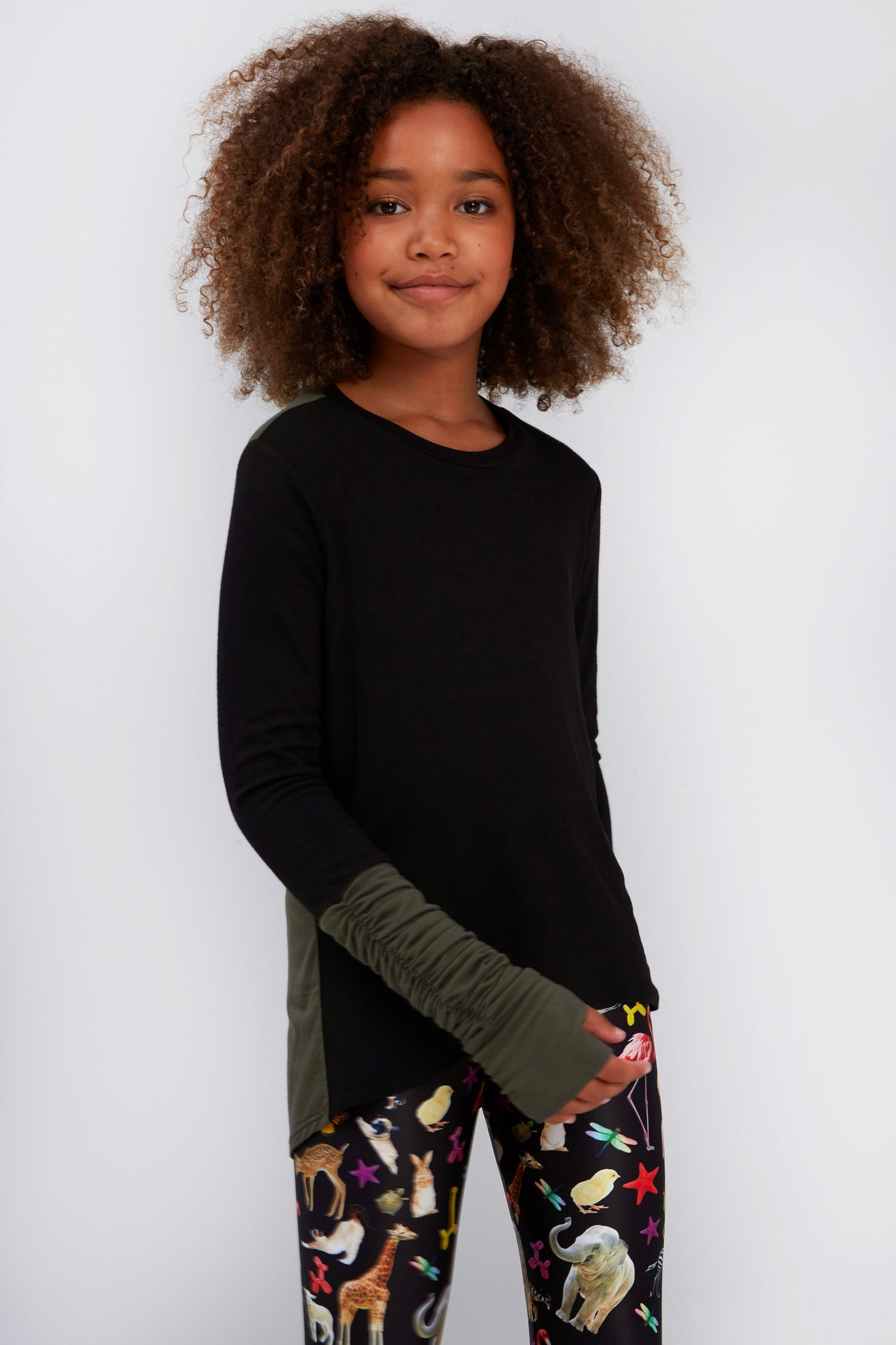 Girls Olive & Black Ruched Sleeve