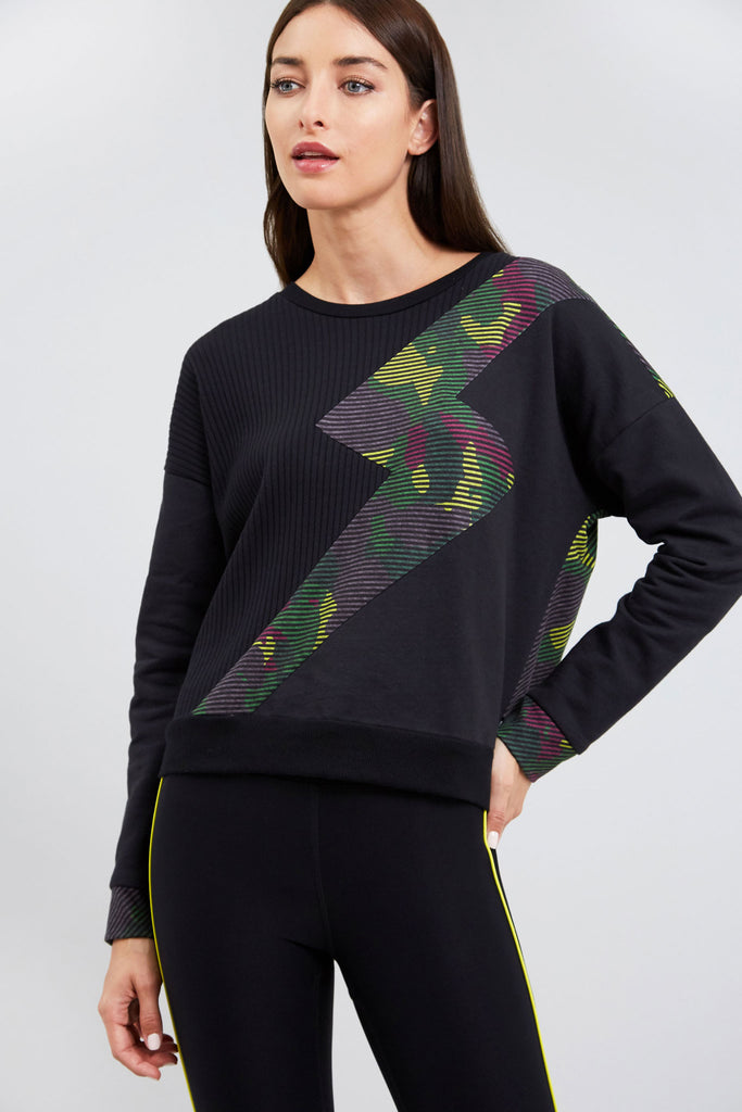 Green Striped Camo Lightning Bolt Sweatshirt