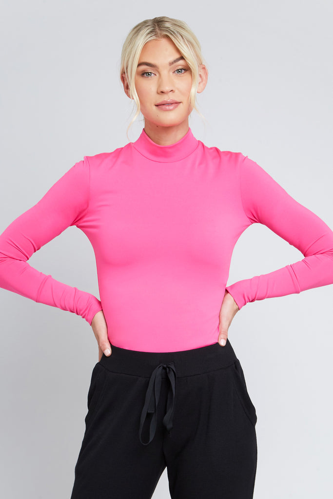 All-Use Mock Neck in Neon Pink