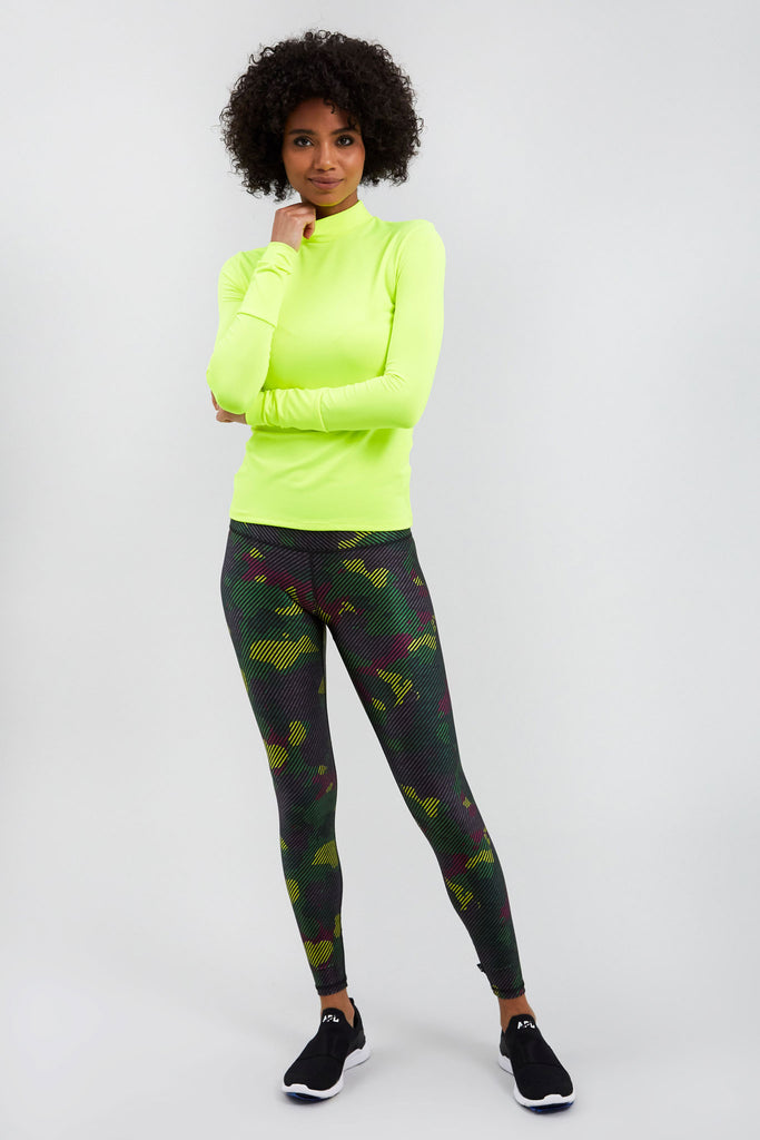 Green Striped Camo Super-High Band Leggings