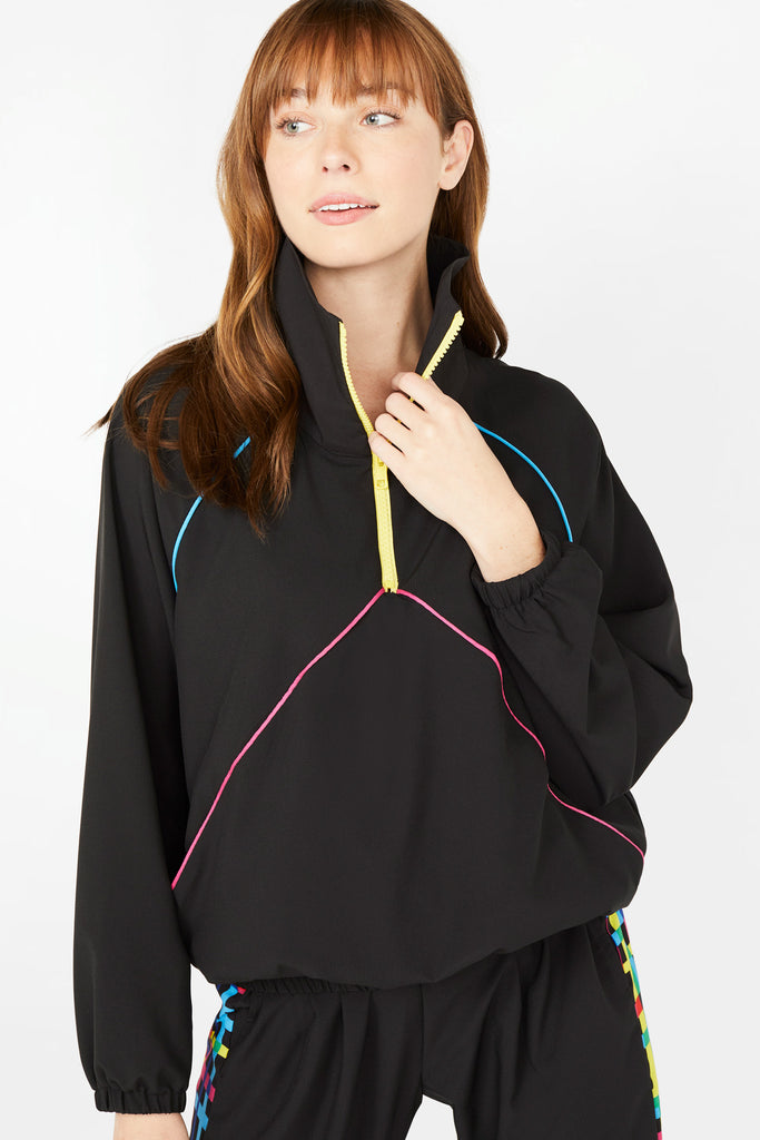 Neon Streak Quarter Zip Windbreaker in Black